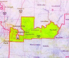 Map of the current 5th Congressional District in MO