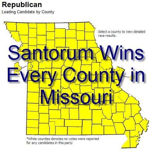 Map of Rick Santorum Winning Every County in Missouri