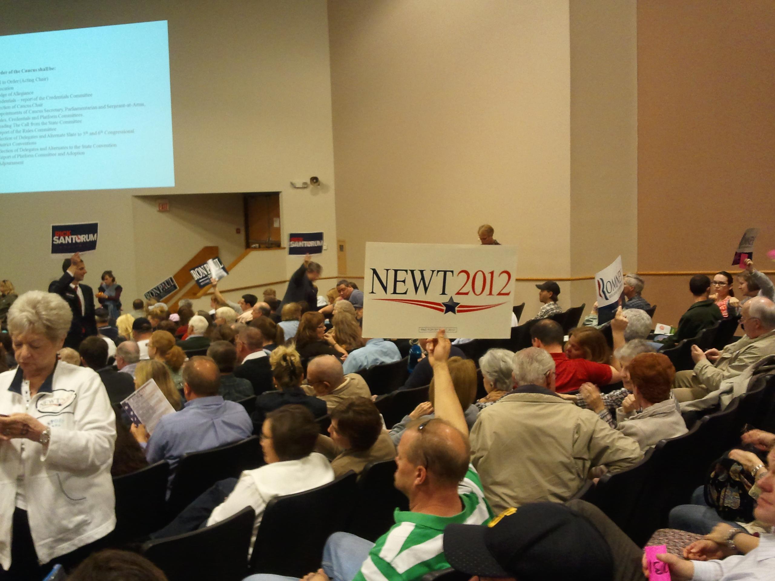 Picture of Newt Sign in the Caucus Auditiorium