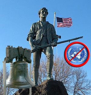 Picture of Minuteman, Liberty Bell, and not the UN