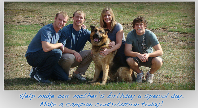 Picture of Sarah Steelman her sons and the family dog