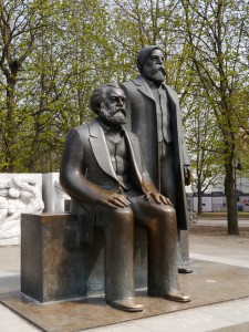 Statue of Karl Marx & Friedrich Engles in Berlin Germany.