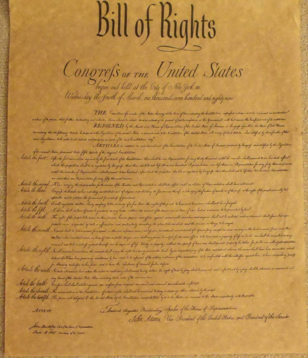 It is a graphic of Breathtaking Printable Copy of the Bill of Rights