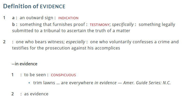 picture of the Definition of Evidence
