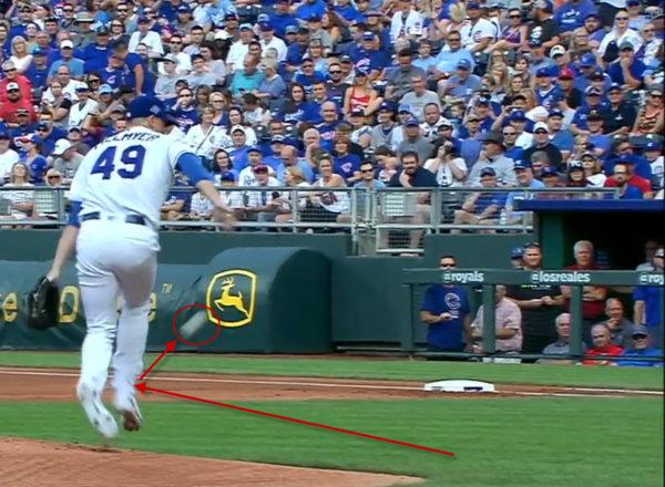 image of Fillmyer Hit by Baseball off Rizzo's Batt